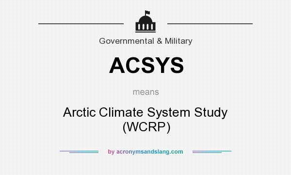 What does ACSYS mean? It stands for Arctic Climate System Study (WCRP)