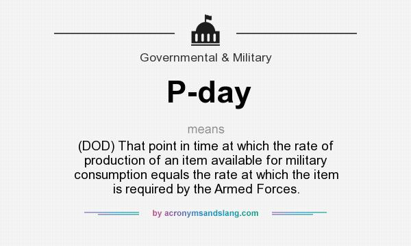 What does P-day mean? It stands for (DOD) That point in time at which the rate of production of an item available for military consumption equals the rate at which the item is required by the Armed Forces.