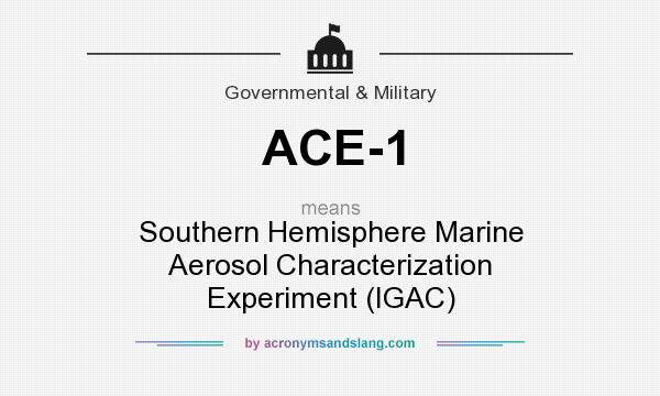 What does ACE-1 mean? It stands for Southern Hemisphere Marine Aerosol Characterization Experiment (IGAC)