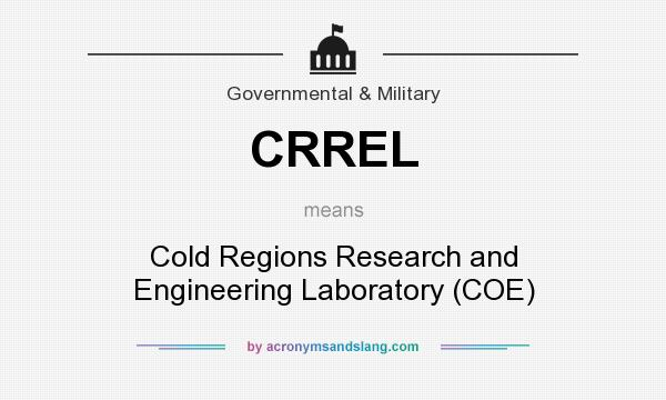 What does CRREL mean? It stands for Cold Regions Research and Engineering Laboratory (COE)