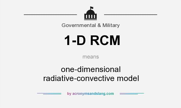 What does 1-D RCM mean? It stands for one-dimensional radiative-convective model