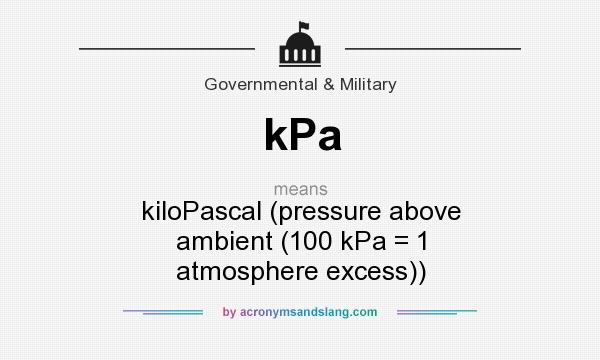What does kPa mean? It stands for kiloPascal (pressure above ambient (100 kPa = 1 atmosphere excess))