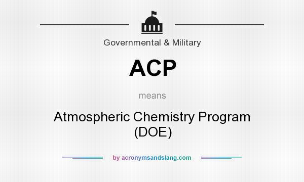 What does ACP mean? It stands for Atmospheric Chemistry Program (DOE)