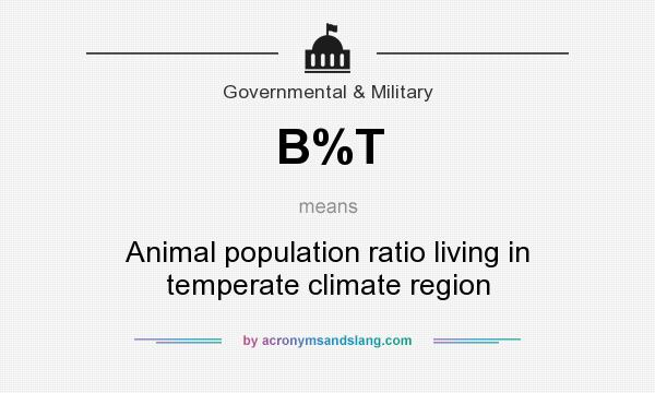 What does B%T mean? It stands for Animal population ratio living in temperate climate region