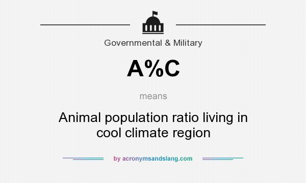 What does A%C mean? It stands for Animal population ratio living in cool climate region