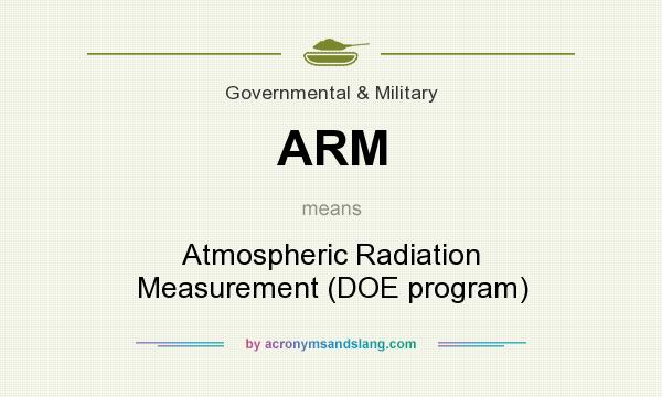 What does ARM mean? It stands for Atmospheric Radiation Measurement (DOE program)