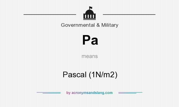What does Pa mean? It stands for Pascal (1N/m2)