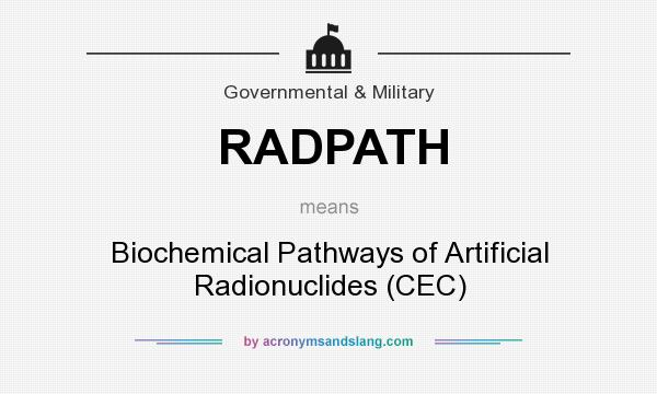 What does RADPATH mean? It stands for Biochemical Pathways of Artificial Radionuclides (CEC)