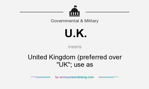 What does U.K. mean? It stands for United Kingdom (preferred over