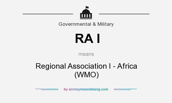 What does RA I mean? It stands for Regional Association I - Africa (WMO)