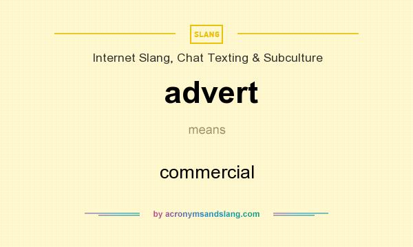 What does advert mean? It stands for commercial
