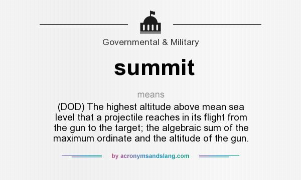 Summit DOD The Highest Altitude Above Mean Sea Level That A - Sea level altitude