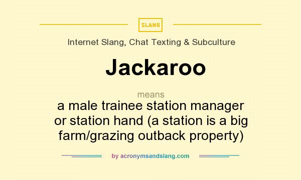 What does Jackaroo mean? It stands for a male trainee station manager or station hand (a station is a big farm/grazing outback property)