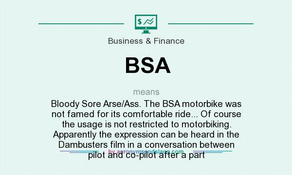 What does BSA mean? It stands for Bloody Sore Arse/Ass. The BSA motorbike was not famed for its comfortable ride... Of course the usage is not restricted to motorbiking. Apparently the expression can be heard in the Dambusters film in a conversation between pilot and co-pilot after a part