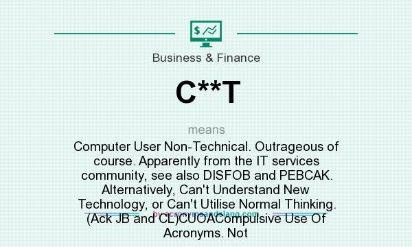 What does C**T mean? It stands for Computer User Non-Technical. Outrageous of course. Apparently from the IT services community, see also DISFOB and PEBCAK. Alternatively, Can`t Understand New Technology, or Can`t Utilise Normal Thinking. (Ack JB and CL)CUOACompulsive Use Of Acronyms. Not