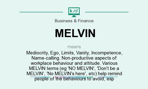 What does MELVIN mean? It stands for Mediocrity, Ego, Limits, Vanity, Incompetence, Name-calling. Non-productive aspects of workplace behaviour and attitude. Various MELVIN terms (eg `NO MELVIN`, `Don`t be a MELVIN`, `No MELVIN`s here`, etc) help remind people of the behaviours to avoid, esp