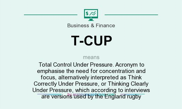 Charming Definition Of T CUP   T CUP Stands For Total Control Under Pressure.  Acronym To Emphasise The Need For Concentration And Focus, Alternatively  Interpreted As ...