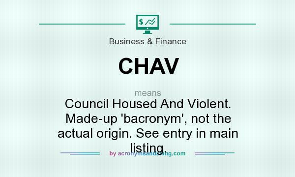 What does CHAV mean? It stands for Council Housed And Violent. Made-up `bacronym`, not the actual origin. See entry in main listing.