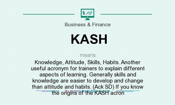What does KASH mean? It stands for Knowledge, Attitude, Skills, Habits. Another useful acronym for trainers to explain different aspects of learning. Generally skills and knowledge are easier to develop and change than attitude and habits. (Ack SD) If you know the origins of the KASH acron