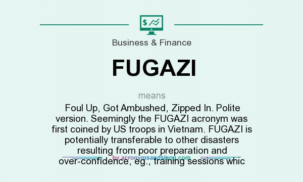 Fugazi foul up got ambushed zipped in polite version seemingly seemingly the fugazi acronym was first coined by us troops in vietnam fugazi is potentially transferable to other disasters resulting from poor malvernweather Choice Image