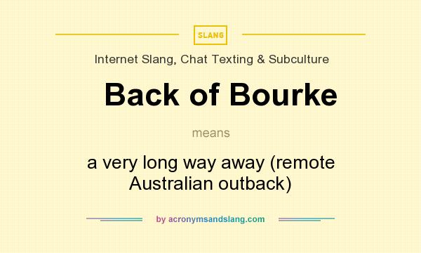 What does Back of Bourke mean? It stands for a very long way away (remote Australian outback)