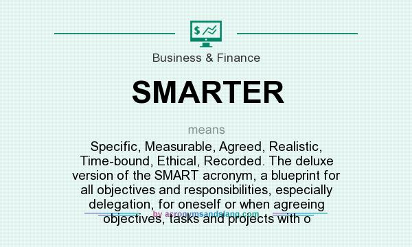SMARTER - Specific, Measurable, Agreed, Realistic, Time