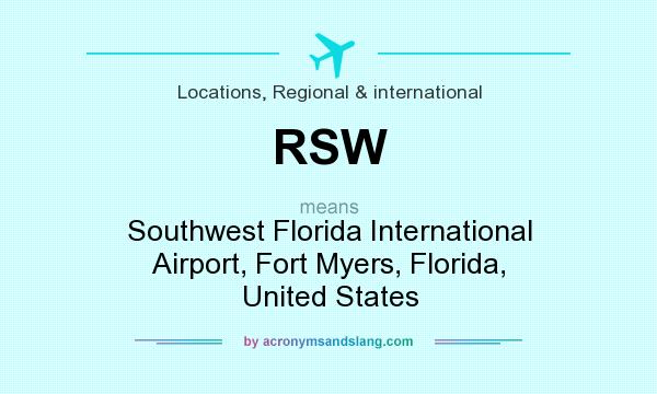 What does RSW mean? It stands for Southwest Florida International Airport, Fort Myers, Florida, United States