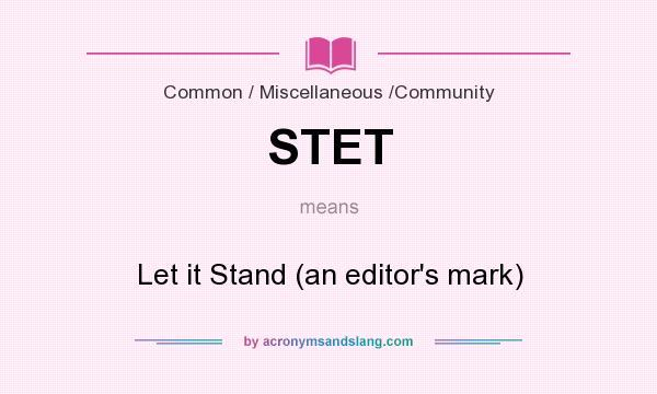Editing marks stet