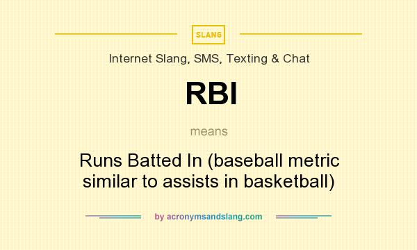 What does RBI mean? It stands for Runs Batted In (baseball metric similar to assists in basketball)