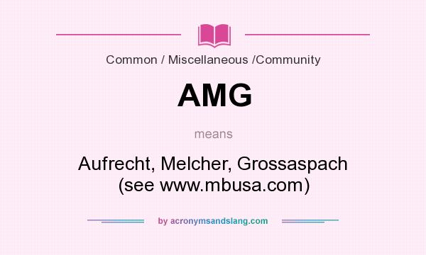 What does AMG mean? It stands for Aufrecht, Melcher, Grossaspach (see www.mbusa.com)