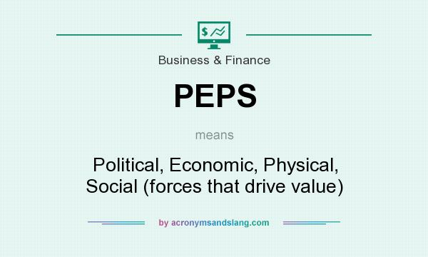 What does PEPS mean? It stands for Political, Economic, Physical, Social (forces that drive value)