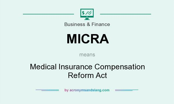 What does MICRA mean? It stands for Medical Insurance Compensation Reform Act