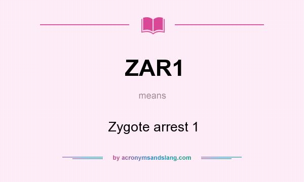 What does ZAR1 mean? It stands for Zygote arrest 1