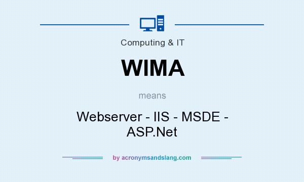 What does WIMA mean? It stands for Webserver - IIS - MSDE - ASP.Net