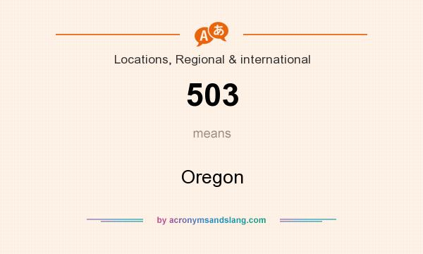 What does 503 mean? It stands for Oregon