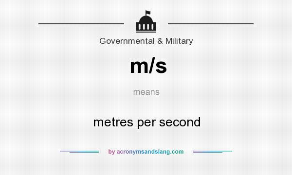 What does m/s mean? It stands for metres per second