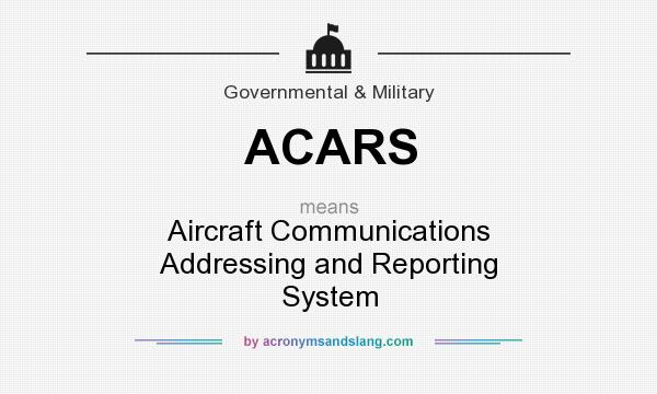 What does ACARS mean? It stands for Aircraft Communications Addressing and Reporting System