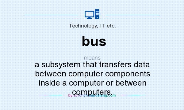 What does bus mean? It stands for a subsystem that transfers data between computer components inside a computer or between computers.