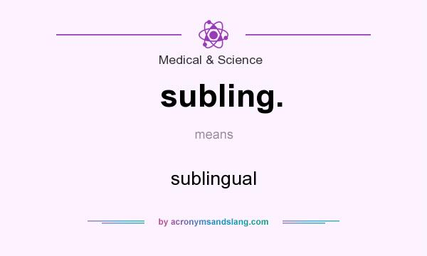 What does subling. mean? It stands for sublingual