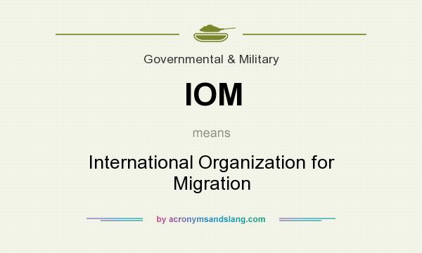 What does IOM mean? It stands for International Organization for Migration