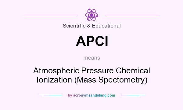 What does APCI mean? It stands for Atmospheric Pressure Chemical Ionization (Mass Spectometry)