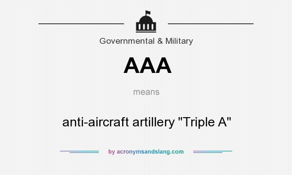 What does AAA mean? It stands for anti-aircraft artillery Triple A