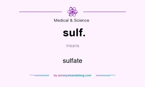 What does sulf. mean? It stands for sulfate