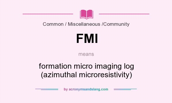 What does FMI mean? It stands for formation micro imaging log (azimuthal microresistivity)