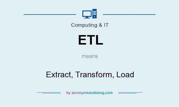 What does ETL mean? It stands for Extract, Transform, Load