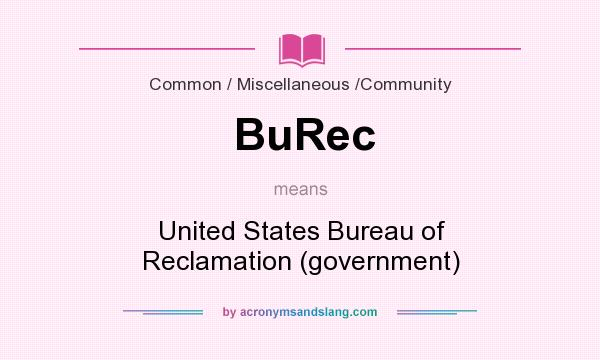 What does BuRec mean? It stands for United States Bureau of Reclamation (government)