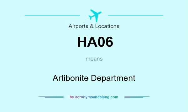 What does HA06 mean? It stands for Artibonite Department
