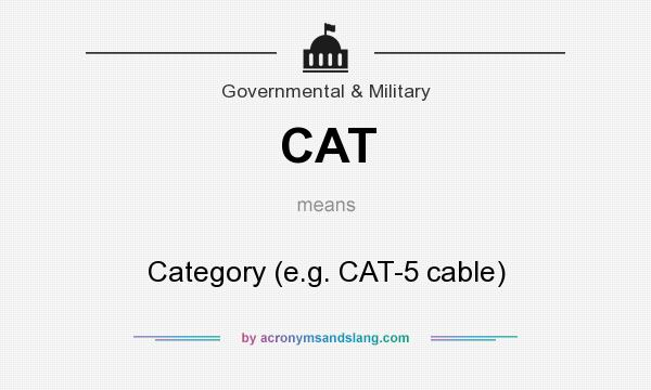 What does CAT mean? It stands for Category (e.g. CAT-5 cable)