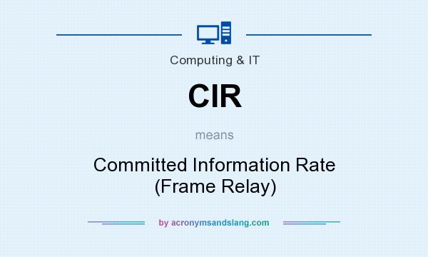 What does CIR mean? It stands for Committed Information Rate (Frame Relay)