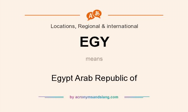 What does EGY mean? It stands for Egypt Arab Republic of